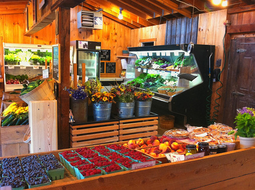 Our farmstand (interior modeled after Killdeer Farm in Vermont) will be stocked with Three Rivers produce, eggs and locally-sourced meats, honey, bread and more!